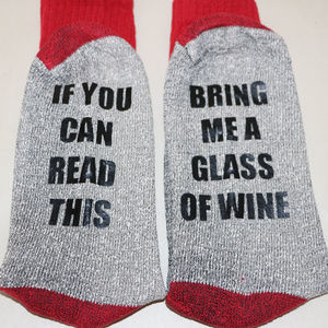 Red Toe Socks - Bring me a Glass of Wine
